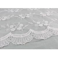 China Floral Embroidery Bridal Scalloped Edges Lace Fabric For Off White Wedding Gowns wholesale