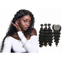 China Double Sewed Weft 8A Virgin Brazilian Hair Extensions Deep Wave With Frontal wholesale