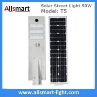 China 50W Solar Street Lights Aluminum All in One Solar LED Street Light Outdoor Radar Sensor Solar Lights for Driveway wholesale