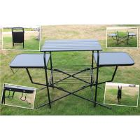 Quality PVC polyester Outdoor Camping Tables , Black / Sliver Portable Grill Barbecue for sale