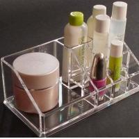 China Clear acrylic cosmetic display / acrylic makeup display with Grid wholesale