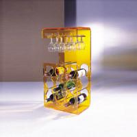 Quality Yellow Acrylic Display Case Holder Rack For Wine Bottle Shelves for sale