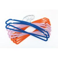 China Space Saving Flocking 445mm Satin Padded Clothes Hangers With Indents wholesale