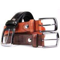 "China 1.3"" Wide Genuine Leather Casual Belt With Embossed Bamboo Pattern on sale"
