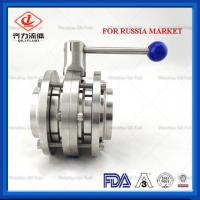 China Dairy Sanitary Butterfly Valve Pull Handle  Three Piece  Butterfly Valve on sale