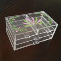 Quality Acrylic 3 tiers Cosmetic Display 4 drawers Light weight with silk printing for sale