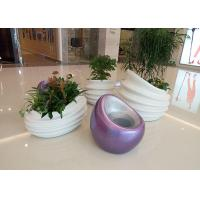 China Glossy White Fiberglass Flower Pot New Design Top Grade Fiberglass Material wholesale