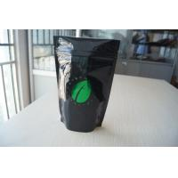 China Glossy Black Hot Stamping Aluminium Foil Pouch , Ziplock Coffee Bean Packaging wholesale