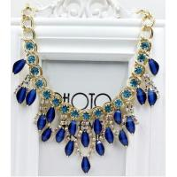 China Fashion Blue Rhinestone necklace for women pearl pendant clavicle necklace wholesale