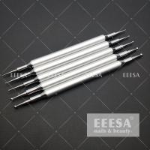 China 5PCS Set Nail Dotting Tools Silver Color Metal Handle Nail Art Tools Nails Beauty wholesale