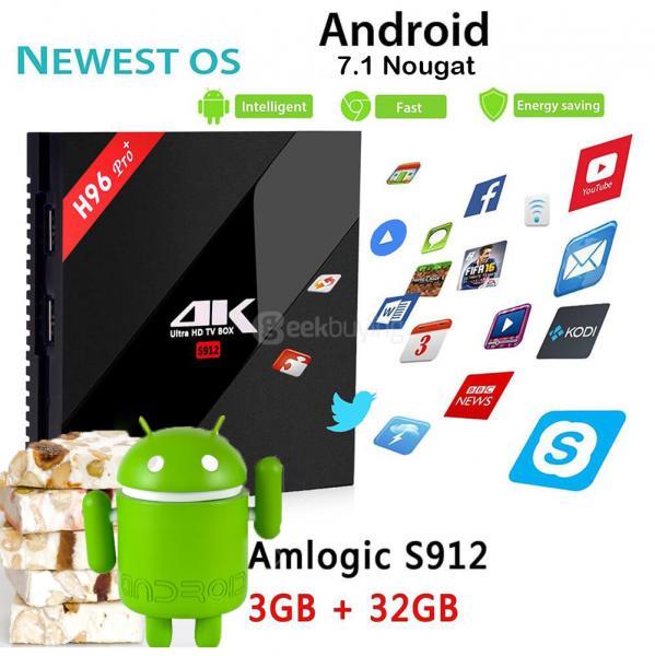 H96 PRO Plus Android 7.1 Amlogic S912 TV BOX KODI 4K 3G/32G 802.11AC WIFI 1000M LAN