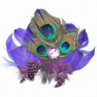 China Brooch, Made of Feather, Comes in 5-inch Side to Side, Customized Designs are Welcome wholesale
