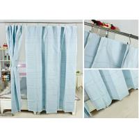 China Ruffled Blackout Modern Window Curtains Light Blue Color 100% Cotton Country Style wholesale