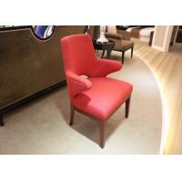 Buy cheap Red Upholstered Fabric Hotel Room Chairs With Arm / Solid Wood Frame And Legs from wholesalers