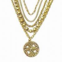 China Multiple Chain Metal Necklaces in Fashionable Design, OEM Orders are Welcome on sale