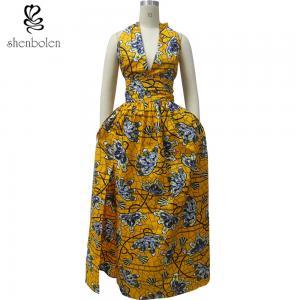 China Women's Stylish African Print Dresses Kitenge Fabric Deep V Neck Front Slit wholesale