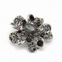 China Brooch in Flower Shape, 2012 New Design, Various Colors and Plating are Available, Nickel-free wholesale