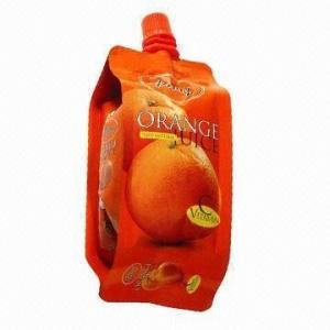 China 12 Colors PET / AL / PE Plastic Spout Pouch Packaging Biodegradable For Orange Juice wholesale
