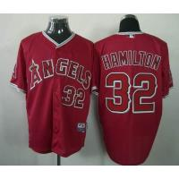 Quality mlb los angeles angels 32 Hamilton red cool base jersey for sale