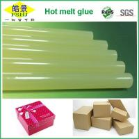 China Light Clear Yellow Colored Hot Melt Glue Sticks No Attaching For Gift Box Bonding on sale