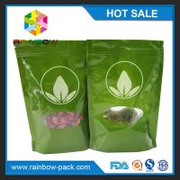 China Green Tea Bags Packaging Printed Mylar Stand Up Ziplock Bag With Clear Window wholesale