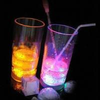 China Flashing Juice Glasses with Switch, Three LED Lights and 250mL Capacity wholesale