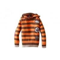 China Orange And Brown Stripes Hooded lovely Anti - Piling fabric dyeing hand knitted baby wear on sale