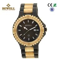 China Round Face Custom Men Wooden Watches , Black Sandalwood Maple Wooden Style Watches wholesale