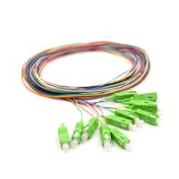 China 0.9mm Pigtail Single Mode , 1m SC APC Single Mode Pigtail 12 Core For FTTx Network wholesale