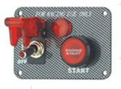 China Carbon Fiber Racing Ignition Switch Panel , Red Illuminated Engine Start Button wholesale