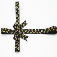 China Golden Printing Decorative Ribbon Bow Black Color With Adhesive Tape wholesale
