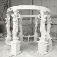 China White Marble Gazebo Handcarved Lady Statues Gazebos Garden Natural Stone Handcarved wholesale