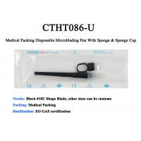 Quality Medical Packing Black 18U Sharp Blade Disposable Manual Tattoo Pen With Brush & Sponge Cup for sale
