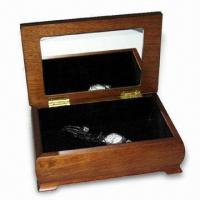 China Square-shaped Wooden Jewelry Box with a Mirror on the Inside Cover wholesale