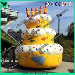 China 5m Advertising Inflatable Birthday Cake Model With Custom Logo Printing wholesale
