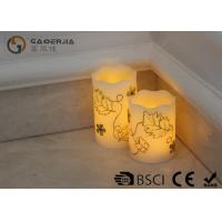 Quality Luxury Carved Craft real Wax led Candles with flower pattern , painting candle for sale
