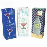 China Promotion one bottle paper wine gift bags by customer's design wholesale