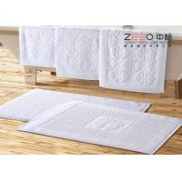 China 32S Yarn Customized Hotel Floor Towels 100% Cotton White Stone Pattern wholesale
