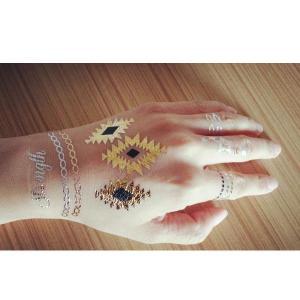 China new magic gold metallic temporary tattoo fashion flash tattoo sticker gold fake tattoo on sale