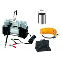 China Silver And Black Steel 12v Heavy Duty Air Compressor Double Cylinder With Gauge wholesale