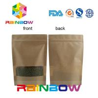 China Flat Bottom Brown Customized Paper Bags / Craft Paper Bag With Zipper wholesale