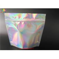 China Stand Up Laser Cosmetic Packaging Bag Hologram Laminated Materials With Zipper wholesale