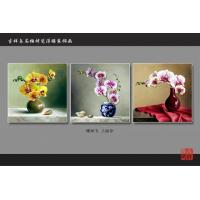 China Yellow Bamboo Fiber Fake Tile Wall Panels Embossed Triptych Art Painting Moth Orchid wholesale