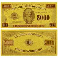 China US 5000 Dollar America Gold Banknote Gold Plated Banknote Gift wholesale