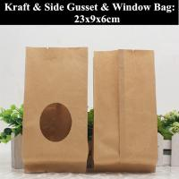 China Flat Bottom Kraft Paper Coffee Pouch Heat Sealed Food Grade Packaging wholesale