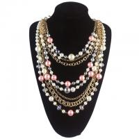China 2015 Multilayers Pearls Necklaces Fashion Women Wedding Charm Jewelry Pink Pearl Statement wholesale