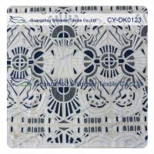 China White And Black Big Geometric Cotton Polyester  Lace Fabric , 1.45 - 1.5m wholesale