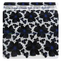 China Anti - Static Embroidered Lace Fabric Black Width 130 - 135cm Polyester Material wholesale