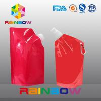 China 350ml 500ml 1L  plastic Flask Water green red color printed Bottle Bag with big Cap wholesale