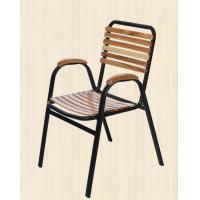 China Comfortable Outdoor Metal Steel Dining Chairs With Armrest Retaurant wholesale